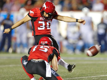 Calgary Stampeders Rene Paredes kicks a field goal against the Toronto Argonauts during CFL football on Saturday, August 26, 2017. Al Charest/Postmedia