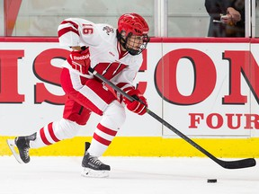 Sarah Nurse playing for the Wisconsin Badgers during an NCAA women's hockey game.