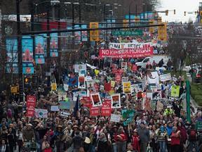 Thousands of people march during a protest against the Kinder Morgan Trans Mountain Pipeline expansion, in Vancouver, B.C., in November 2016.