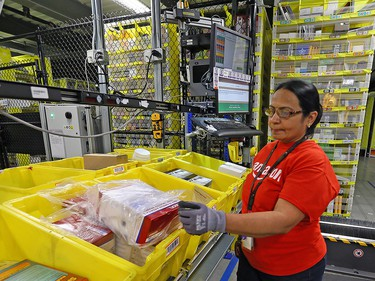 Packages are sorted inside the Amazon fulfillment centre in Brampton, Ont. There are four such facilities in the Toronto area.
