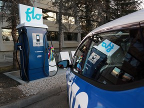 One of the new fast-charging stations for electric vehicles at the Macleod Trail south Canadian Tire in Calgary was unveiled on Tuesday Nov. 28, 2017. ATCO and FLO are partnering to build three fast-charging stations in Calgary, Red Deer and Edmonton.