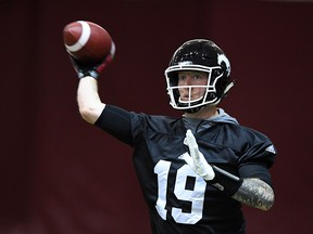 Calgary Stampeders' Bo Levi Mitchell takes part in the Grey Cup West Division champions practice in Ottawa on Wednesday, Nov. 22, 2017.