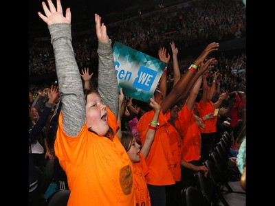 Students cheer on the fun during WE Day Alberta at the Scotiabank Saddledome on Wednesday November 1, 2017. Darren Makowichuk/Postmedia