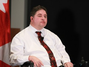 Kent Hehr, MP for Calgary Centre, Federal Minister for Sport & Persons with Disabilities,  speaks in Calgary on  Friday, December 15, 2017.