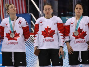 Jocelyne Larocque of Canada refuses to wear her silver medal after losing to the United States in the women's gold medal game at the Pyeongchang 2018 Winter Olympics.