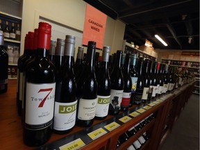 B.C. wines lined up at  Zyn Wine Market in Inglewood on Feb. 6, 2018.