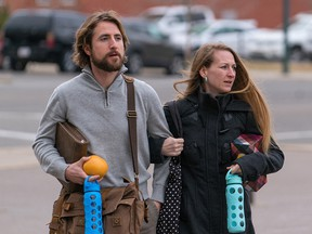 David and Collet Stephan make their way to court on March 15, 2016 in Lethbridge.