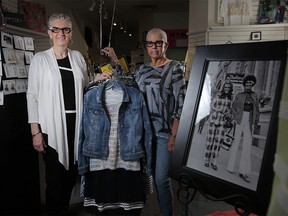 Since 1968, the sisters Suzanne Truba, left and Toni Thomas have been wrapping the women of Calgary in the finest of up-scale boutique clothing and accessories at their store Suzanne Truba in Calgary, on Thursday May 3, 2018. Leah Hennel/Postmedia