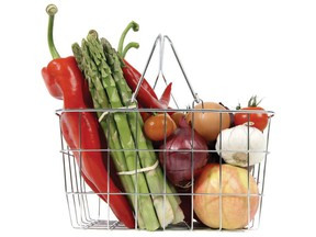 The Northwestern Health Unit reports the cost of a nutritious food basket — containing 67 items from Canada's Food Guide — now costs a family of four in the Kenora and Rainy River districts $941.86 per month. FILE PHTOO/QMI AGENCY ORG XMIT: food-basket2.jpg0
