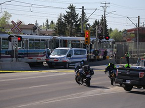 A pedestrian was killed after being struck by a CTrain on 36th Street N.E. on Wednesday, May 16, 2018.