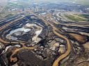 An aerial view of Canadian Natural Resources Limited (CNRL) oilsands mining operation near Fort McKay, Alberta.