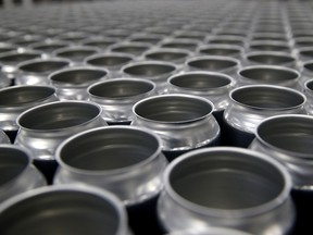 Stacks of empty aluminum cans sit on a pallet before being filled with beer at Devil's Canyon Brewery on June 6, 2018 in San Carlos, California.