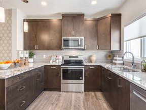 The kitchen in the Huntley by Excel Homes. The builder has been one of the most active builders for enrolments through Built Green Canada this year.