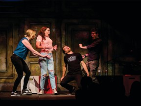 Ali Froggatt (second from left) performs in Missed Connections at the 2017 Canmore International Improv Festival. Froggatt brings Missed Connections back for the 2018 edition of the fest.
