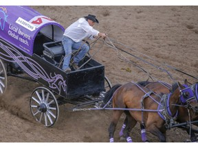 Vern Nolin comes off the number 1 barrel in Heat 9 of the chuckwagon races at the Calgary Stampede in Calgary, Ab., on Friday July 6, 2018. Mike Drew/Postmedia
