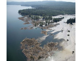 Debris flows into Quesnel Lake after a tailings pond breach near the town of Likely, B.C., in 2014.