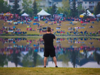 Crowds gather at the opening night of the 2018 Globalfest Fireworks Festival. The night celebrated Ukraine and lit up the sky above Elliston Park on Thursday August 16, 2018.