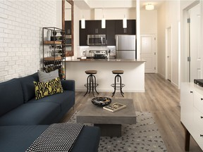 The great room and kitchen in the new 664-square-foot show suite at Sandgate by Hopewell Residential in Mahogany.