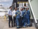 Prime Minister Justin Trudeau meets with workers as he visits Kinder Morgan in Edmonton on June 5, 2018.