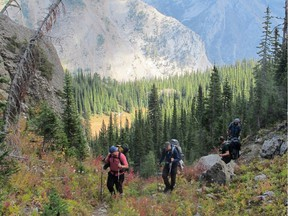 Our five-man posse approaching Windy Pass on the second day of the Heikos hike. Photo, Andrew Penner