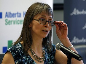 Dr. Deena Hinshaw (Deputy Chief Medical Officer of Health, Alberta Health) speaks with the news media on March 16, 2018. PHOTO BY LARRY WONG/POSTMEDIA