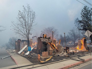 The Blackbear Diner burns as the Camp fire tears through Paradise, California on Nov. 8, 2018. More than 18,000 acres have been scorched in a matter of hours burning with it a hospital, a gas station and dozens of homes.
