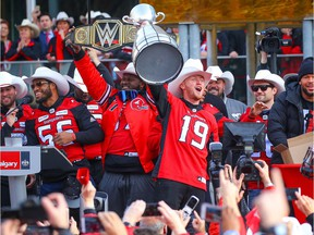 Calgary Stampeders quarterback Bo Levi Mitchell during a rally at Municipal Plaza on Tuesday, November 27, 2018 to celebrate the Calgary Stampeders' victory in the 106th Grey Cup, a 27-16 win over the Ottawa RedBlacks. Al Charest/Postmedia