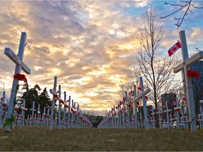 Calgary's Field of Crosses, photographed at sunrise on Nov. 5, 2018.