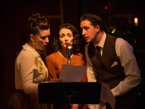 Katherine Fadum, Arielle Rombough and Devon Dubnyk in It's a Wonderful Life: A Live Radio Play by Lunchbox Theatre. Courtesy, Benjamin Laird