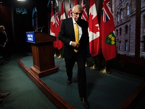 Ontario Finance Minister Vic Fedeli leaves after speaking to the media following the tabling of the 2018 Ontario Economic Outlook and Fiscal Review, at Queen's Park in Toronto on Nov. 15, 2018.