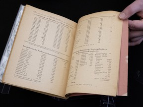 "Michael Kent, curator of the Jacob M. Lowy collection, displays the German language book ""Statistics, Media and Organizations of Jewry in the United States and Canada,"" Wednesday Jan. 23, 2019 in Ottawa. The book, once owned by Adolf Hitler, has been acquired by Library and Archives Canada."