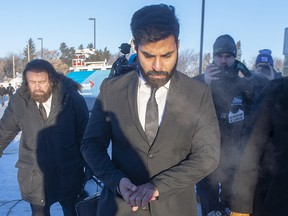 Jaskirat Singh Sidhu the driver of the truck that struck the bus carrying the Humboldt Broncos hockey team, arrives for the second day of his sentencing hearing, Tuesday, Jan. 29, 2019 in Melfort, Sask.