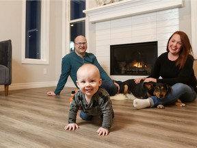 Dax Jestin-Vincent, 8 months, is excited to explore his new home and community in Belmont with his mom Shayley and dad Dan.