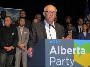 Alberta Party Leader Stephen Mandel at a party event on Oct. 20, 2018.