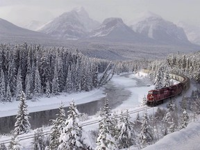 File photo of a Canadian Pacific freight train at Morant's Curve near Lake Louise.
