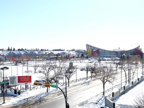 Part of Stampede Park is pictured at 12 Ave SE and Olympic Way, north of the Saddledome onTuesday, February 26, 2019. The area is part of the proposed Rivers district.  Jim Wells/Postmedia