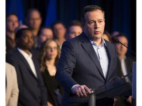 Jason Kenney speaks to the media at the conclusion of the election readiness convention on Sunday, Feb. 17, 2019, in Edmonton.