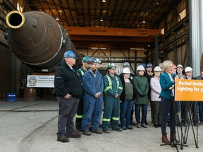 Alberta NDP Leader Rachel Notley announces her party would double incentives for petrochemical and upgrading projects from $3.6 billion to $7 billion over the next 10 years at Cessco in Edmonton, on Wednesday.