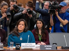 Former justice minister Jody Wilson-Raybould prepares to testify before a justice committee hearing on Parliament Hill in Ottawa on February 27, 2019.