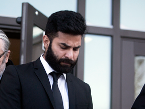 Jaskirat Singh Sidhu leaves provincial court in Melfort, Sask., Jan. 8, 2019. Sidhu, the driver of a transport truck involved in a deadly crash with the Humboldt Broncos junior hockey team's bus, pleaded guilty to all charges against him.