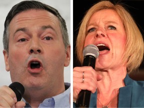 NDP Leader Rachel Notley, left, and UCP leader Jason Kenney face off in the Alberta election tomorrow.