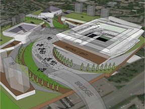 Rendering of proposed field house to replace McMahon Stadium. Courtesy, PBA Land & Development