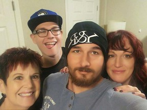 Dawn Warden (R) poses for a selfie with her late son, Coltyn (C), second son Kyle, and mother Jeanette Eaton, left, in an undated photo. Supplied family photo