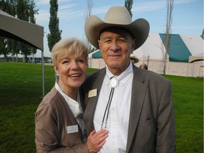 Stampede wouldn't be the same without the annual Hays Breakfast, taking place the first Sunday of Stampede. The 69th and final event  took place at Heritage Park July 7. Pictured are co-hosts Sen. (ret'd) Dan Hays and his wife Kathy. Dan's father started the event all those years ago.