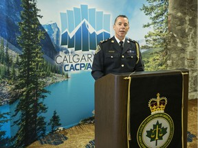 Calgary Police Chief Mark Neufeld speaks during the Canadian Association of Chiefs of Police annual conference at the Hyatt Regency hotel in Calgary.