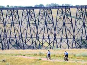 Biking in the coulee near the High Level Bridge in Lethbridge. Credit: Andrew Penner