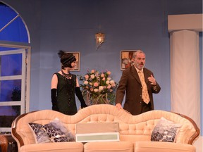 Mark Weatherley as 'Tim Westerby' and Sarah English as 'Polly' in Stage West's There Goes the Bride.