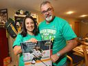 Toby and Bernadine Boulet in their Lethbridge home, surrounded by hockey memorabilia. Their son Logan, a victim of the Humboldt Broncos bus crash, donated six of his organs for transplant.
