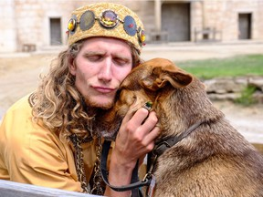 Richard Kelly Kemick in character as Herod, and his dog, Maisy, during rehearsals of The Canadian Badlands Passion Play. His memoir, I Am Herod chronicles his experiences.