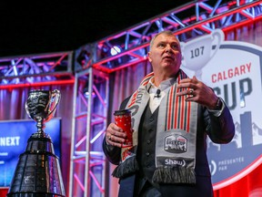 CFL Commissioner Randy Ambrosie addresses the media during the State of the League news conference during the 107th Grey Cup in Calgary on Friday, November 22, 2019.